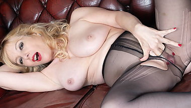 Blonde busty Milf sexpot fucks huge dildo toy in pantyhose