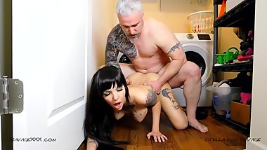 Pounding her Pussy in the Laundry Room - Pussy Eating & Creampie Amateur
