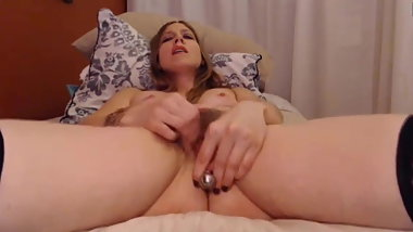 Milf with plug in bushy pussy receives a convulsing orgasm