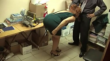 Russian hairy redhead fucking at work