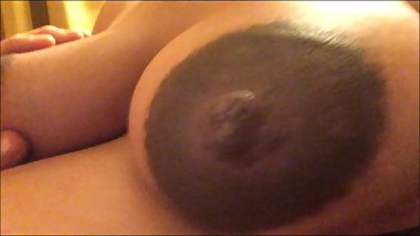 Fucking younger preggo's HUGE nipples and areolas