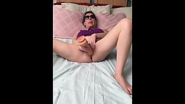 Big tit mom fucks dildo hard and eats all her pussy cream!