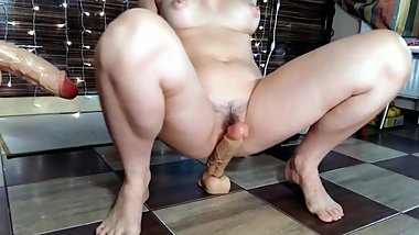 Hotwife, milf & my hot step mom huge dildo ride & suck, fuck hairy pussy!