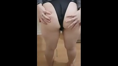 Step mom splits ass in half using thongs while step son plays with his dick