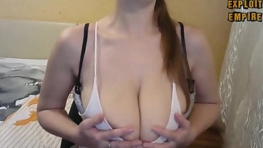 MILF shakes huge gorgeous tits. Bouncing and swaying breasts