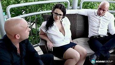 Anna beck fuck a two cocks and they cum in your tits