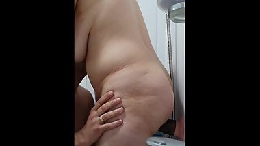 Step mom fucked in the bathroom by step son with 12 inch of dick