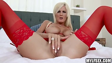 Hot Blonde MILF With Perfect Tits In Red Stockings Teases and Fucks Hubby