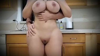 Step son fucking step mom with big ass and big tits in the kitchen