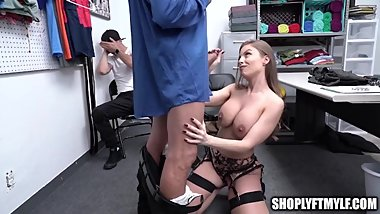 MILF in Garter and Stockings Gives Guard BJ After Son Caught Shoplifting
