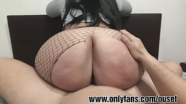 My mother's whore sits on my huge cock.