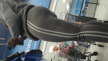 Vpl ebony big booty tease in grey leggings part2