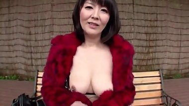 Red fur coat japanese milf Part1