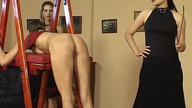Mistress Spank her slut Hard ,slaves are watching
