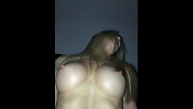 Fit Aussie MILF with massive tits and HARD NIPPLES riding my cock moaning