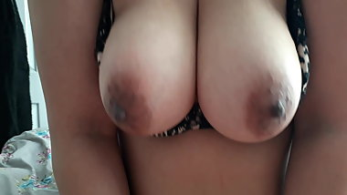 Tits bouncing while riding hubby's cock