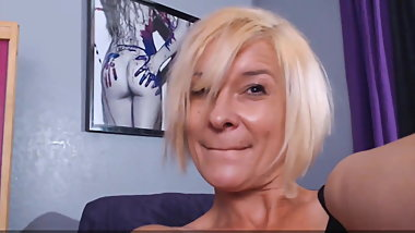 Blonde cougar abuses adult toys while alone at home