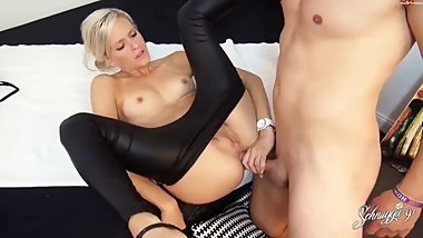 Latex blonde babe with small tits want to be fist