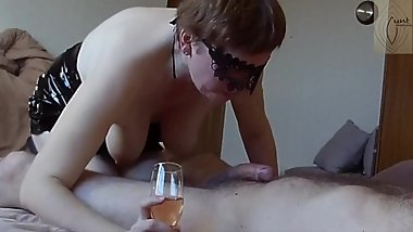 Submissive milf slut gave wine blowjob and fucked in boots (short version)
