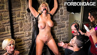 CrowdBondage - Submissive PAWG Blondie Fesser Bound And Fucked - ForBondage