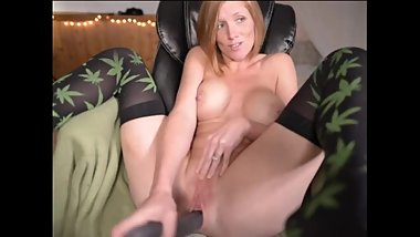HOTT REDHEAD WIFE FUCKS HERSELF TO CUM in 420 KNEE HIGH STOCKINGS