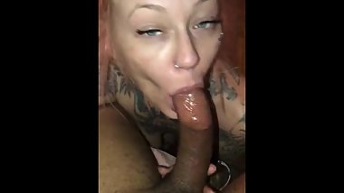 Tattooed whore looks up at bbc gives him the best sloppy head . Deepthroats