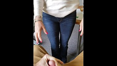 MILF sucking dick at office and talking