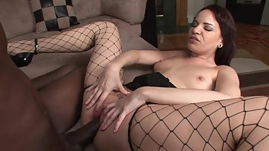 Horny white MILF analed by black cock