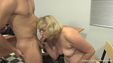 Mature teaches a young cock