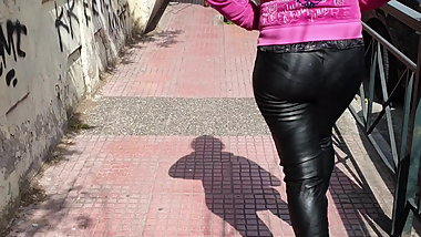 Greek milf in leather leggings 4