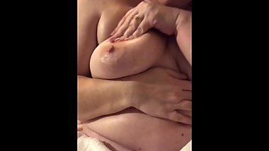 BBW MILF oils up big soft tits and belly, POV of her dripping wet pussy
