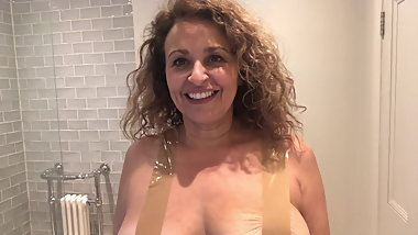 Nadia Sawalha Tapes Her Big Tits Up