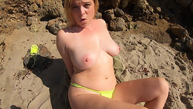 STEPMOM SEDUCES STEPSON ON VACATION ON THE BEACH (POV)