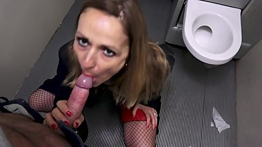 MILF prostitute who gets fucked in public toilet without condom
