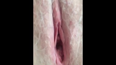 Jewish Gilf w Legs Pulled Back Hairy Pink Pussy & Asshole Spread Wide