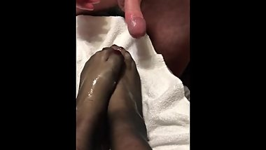 Cum on wifeТs sexy feet in nylons