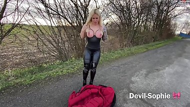 Blonde busty german slut fucked and pissed on