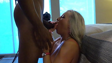 BBC Gently stokes himself and cums in Sanda's mouth